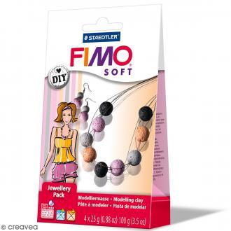 Coffret pâte Fimo Soft - Bijoux Corail - 4 demi pains de 25 g et accessoires