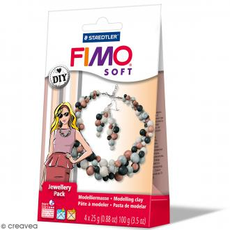 Coffret Fimo Effect - Bijoux Perles - 4 demi pains de 25 g et accessoires