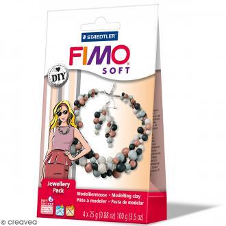 Coffret pâte Fimo Effect - Bijoux Perles - 4 demi pains de 25 g et accessoires