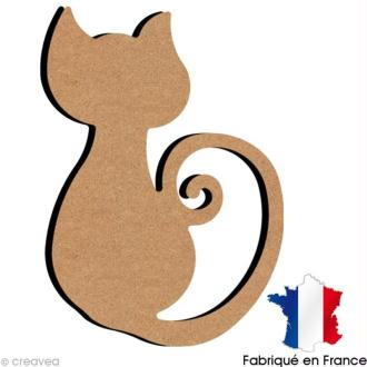 Chat avec queue spirale en bois 15 cm