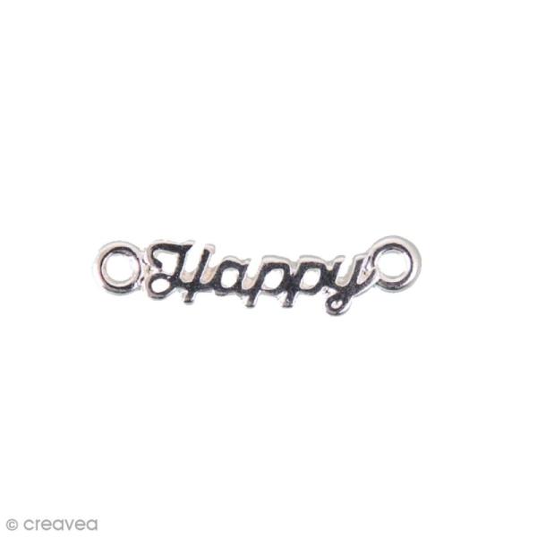 Breloque intercalaire - Happy - 20 x 5 mm - Photo n°1