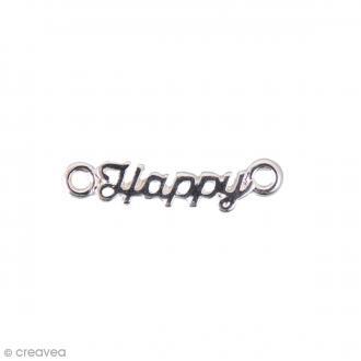 Breloque intercalaire - Happy - 20 x 5 mm