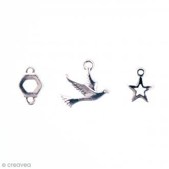 Assortiment de breloques pendentifs - Mix 8 - Argent - 3 pcs
