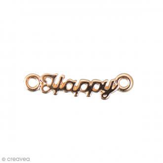 Breloque intercalaire - Happy - Doré - 20 x 5 mm