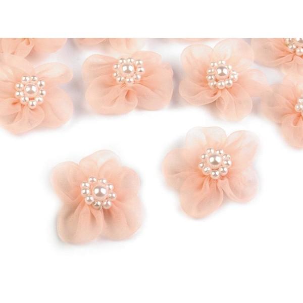 10pc Saumon Fleur en Organza Ø30mm Avec des Imitations de Perles, d'Autres Fleurs À Coudre de la Col - Photo n°1