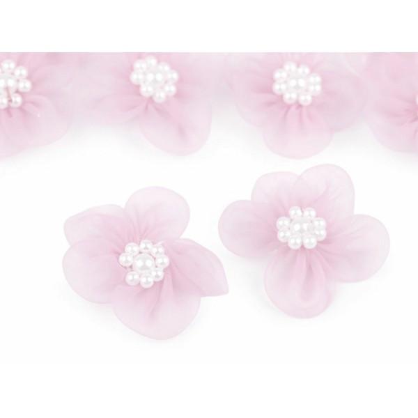 10pc Rose clair Organza Fleur Ø30mm Avec des Imitations de Perles, d'Autres Fleurs À Coudre de la Co - Photo n°1