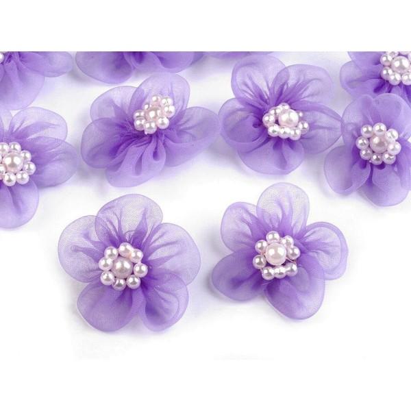 10pc Violet Fleur en Organza Ø30mm Avec des Imitations de Perles, d'Autres Fleurs À Coudre de la Col - Photo n°1