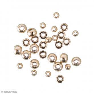 Assortiment de perles boules et disques - Doré - 30 pcs