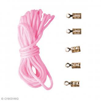 Kit cordon nylon avec fermoirs - Rose - 2 m