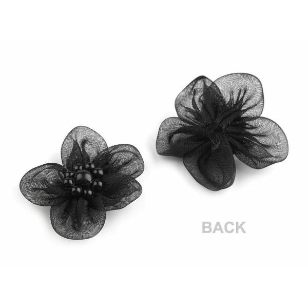 10pc Noir Organza Fleur Ø30mm Avec des Imitations de Perles, d'Autres Fleurs À Coudre de la Colle, d - Photo n°4