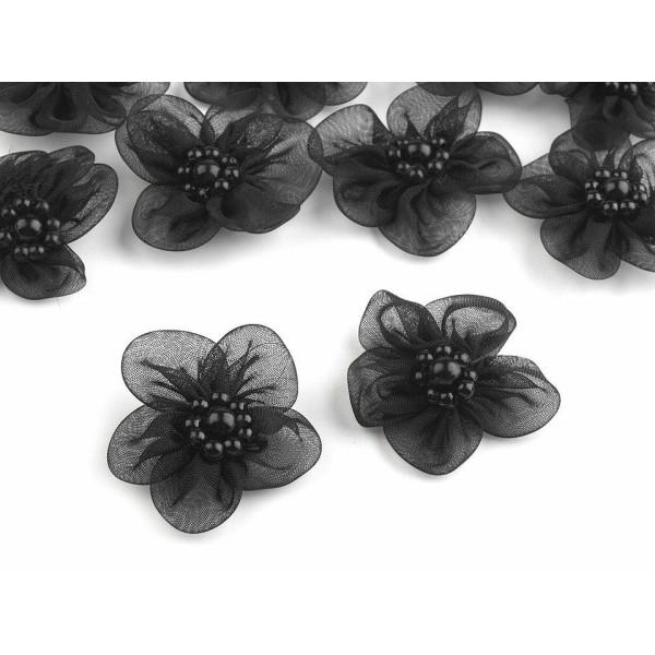 10pc Noir Organza Fleur Ø30mm Avec des Imitations de Perles, d'Autres Fleurs À Coudre de la Colle, d - Photo n°1