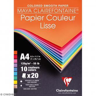 Bloc papier dessin lisse - A4 - 120 g - 20 feuilles de couleurs
