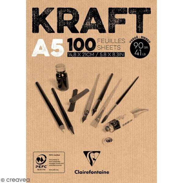 Bloc papier Kraft - A5 - 90 g - 100 feuilles - Photo n°1