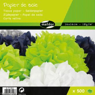 Assortiment de papier de soie - 9 couleurs - 6 x 16 cm - 500 feuilles