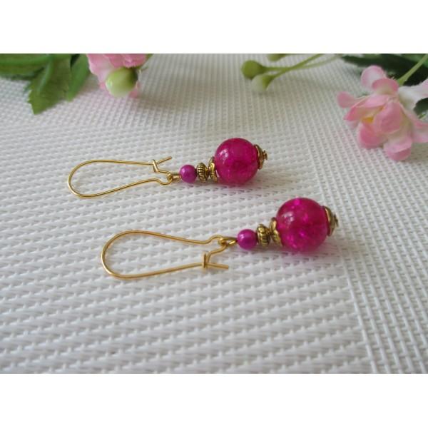 Kit boucles d'oreilles apprêts dorés et perle en verre fuchsia - Photo n°1