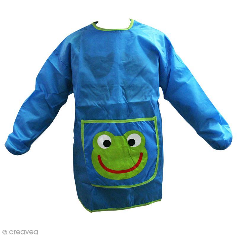 tablier de peinture pour enfant bleu et vert taille 110 135 cm tablier peinture creavea. Black Bedroom Furniture Sets. Home Design Ideas