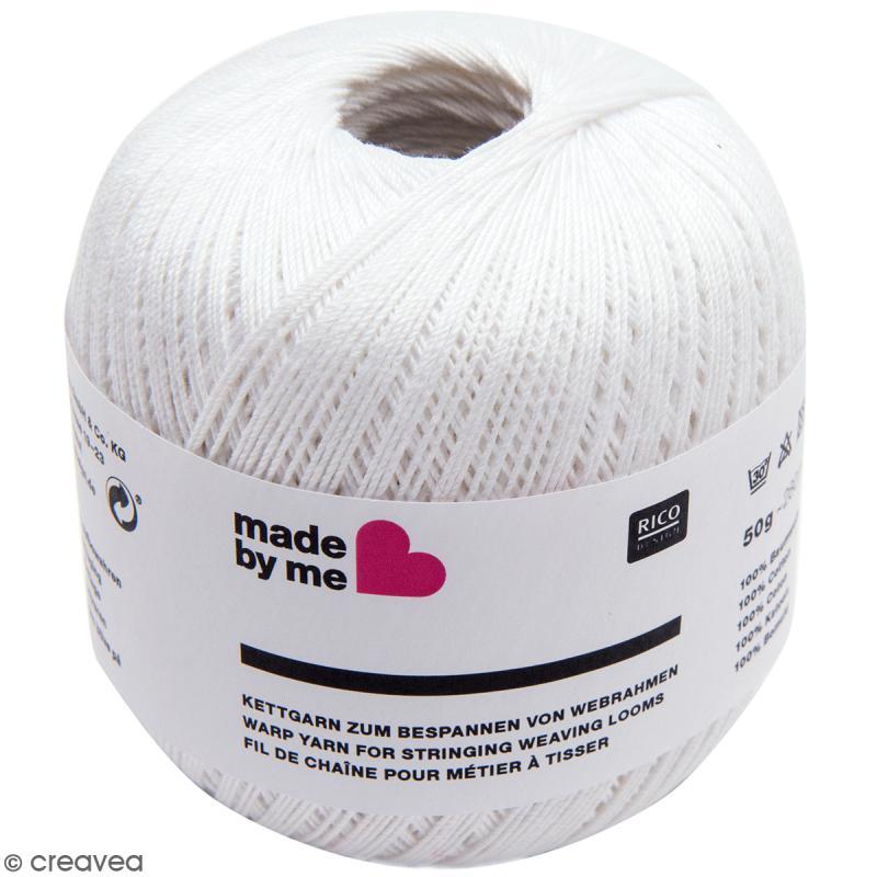Fil de chaîne pour métier à tisser - Blanc - 0,5 mm - Photo n°1