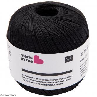Fil de chaîne pour métier à tisser - Noir - 0,5 mm