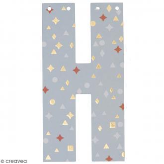 Lettre en papier pour guirlande - H - Multicolore