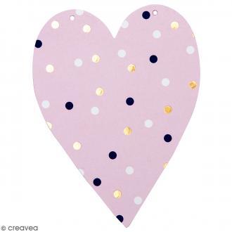 Coeur en papier pour guirlande à décorer - 14 x 10,5 cm - Multicolore