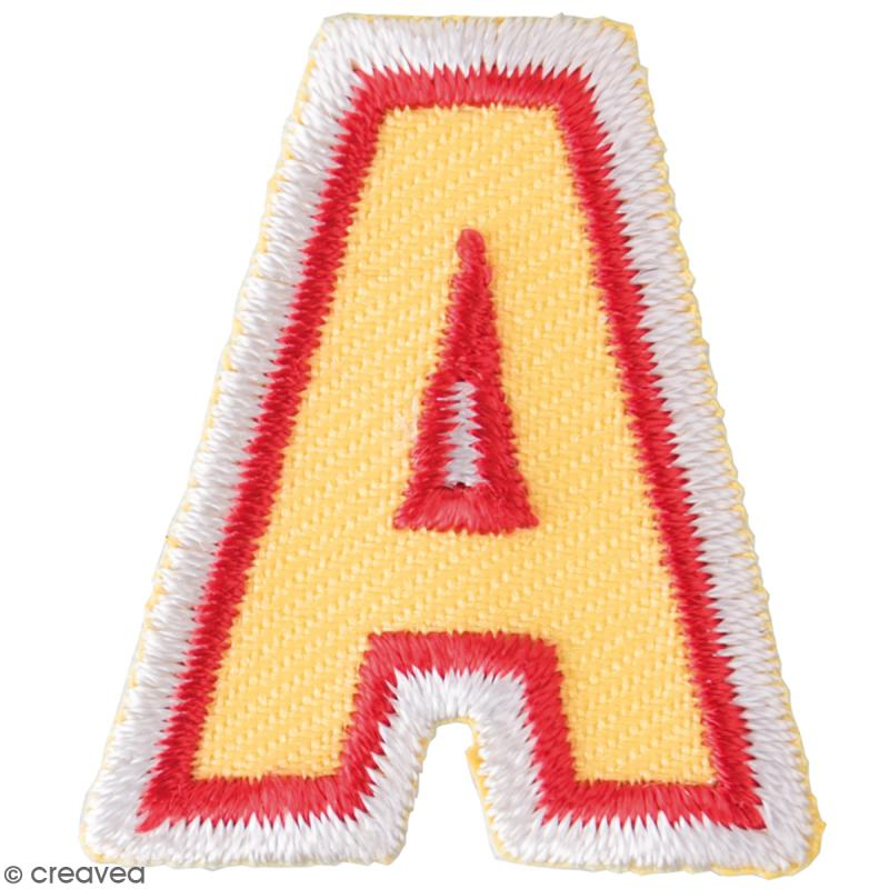 ecusson thermocollant alphabet lettre a 28 x 32 mm motif thermocollant creavea. Black Bedroom Furniture Sets. Home Design Ideas