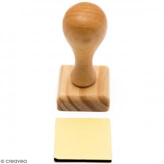 Poignée tampon bois - Base carrée de 3,9 x 3,9 cm
