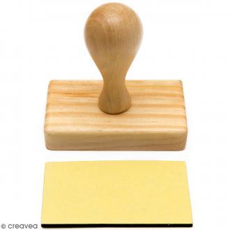 Poignée tampon bois - Base rectangulaire de 8 x 4,3 cm