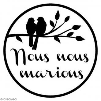 Tampon bois rond 3 cm - Oiseaux mariage
