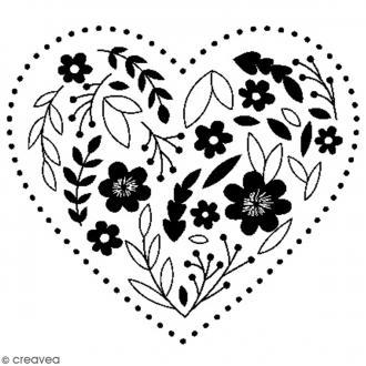 Tampon bois Mariage - Coeur brodé à fleurs - 4 x 3,5 cm