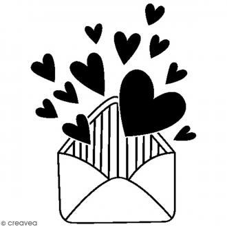 Tampon bois Amour - Enveloppe coeur - 4,5 x 3,5 cm