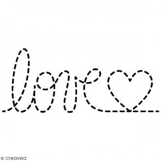 Tampon bois Amour - Love point - 5,5 x 2,5 cm