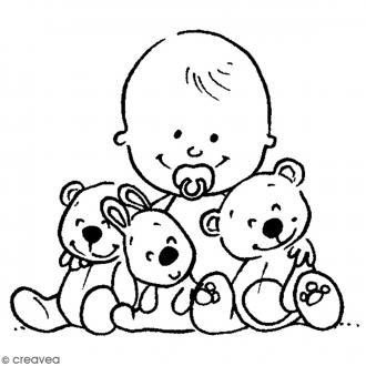 Tampon bois Naissance - Bébé avec ours - 6 x 5 cm