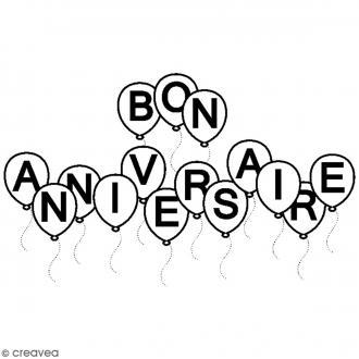 Tampon bois Anniversaire - Bon anniversaire - 6,5 x 3,5