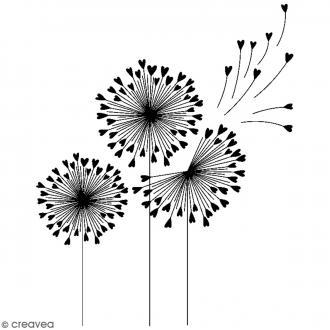 Tampon bois Nature - Fleurs pissentlits - 7 x 5,5 cm