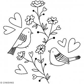 Tampon bois Nature - Oiseaux sur branche avec coeurs - 5,9 x 5,6 cm