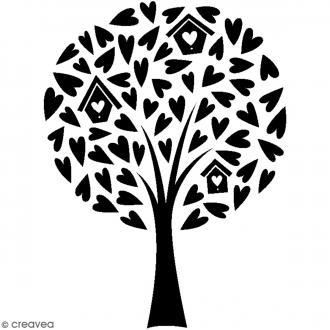 Tampon bois Nature - Arbre à coeurs - 7 x 5,7 cm