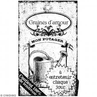 Tampon bois Graines d'amour - 7 x 4,5 cm