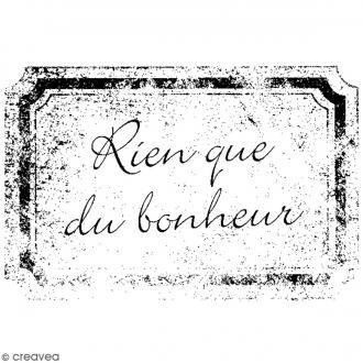 Tampon bois Mariage - Rien que du bonheur - 7 x 4,5 cm