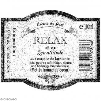 Tampon bois Etiquette Relax - 6 x 5 cm