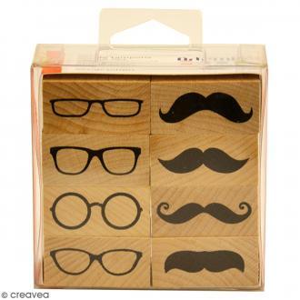 Set tampon bois - Moustaches et lunettes - 4 x 1,8 cm - 8 pcs