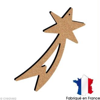Etoile Filante ajourée en bois à suspendre  15 cm