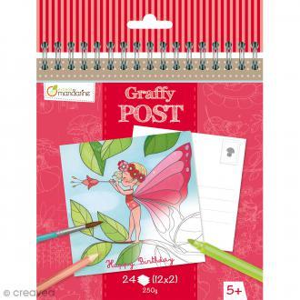 Cahier de Coloriage cartes postales - Graffy post Fées et fleurs - 24 pages