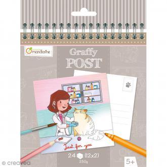 Cahier de Coloriage cartes postales - Graffy post Vétérinaire - 24 pages