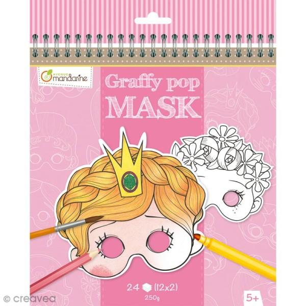 Masques à colorier et découper - Fille - 24 pages - Photo n°1