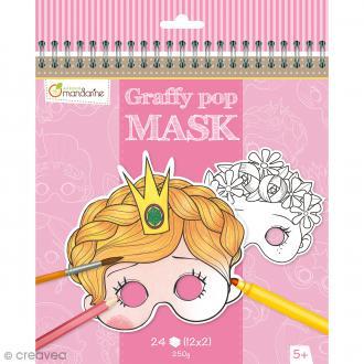 Masques à colorier et découper - Fille - 24 pages