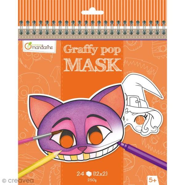 Masques à colorier et découper - Halloween - 24 pages - Photo n°1