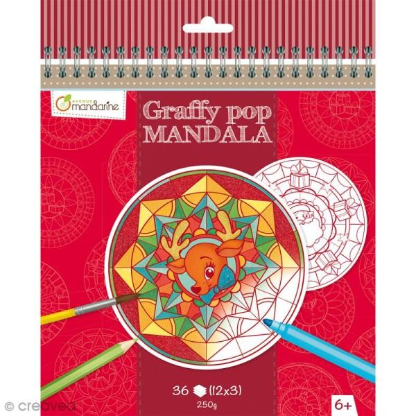 Bloc à colorier Graffy pop Mandala - Noël - 36 pages - Photo n°1