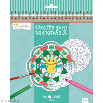 Cahier de Coloriage Graffy pop Mandala - Animaux divers - 36 pages