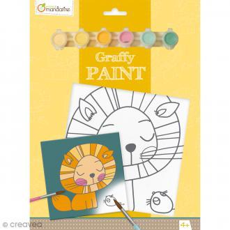Kit peinture enfant Graffy Paint - Lion - Toile de 20 x 20 cm et accessoires