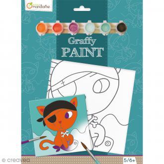 Kit peinture enfant Graffy Paint - Chat pirate - Toile de 20 x 20 cm et accessoires